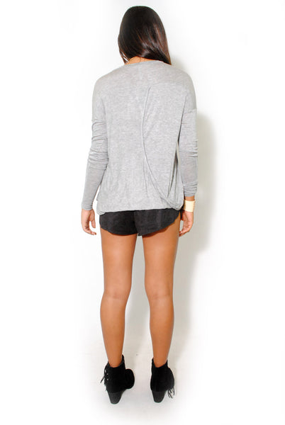 (alw) Twisted on back jersey gray blouse - L.A. Roxx - 3