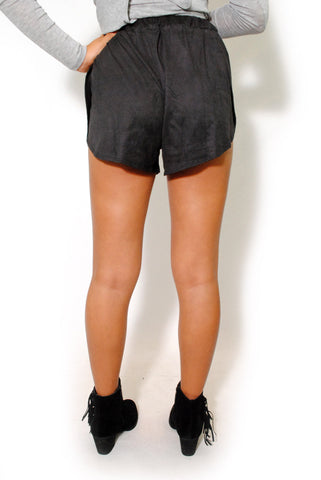(alw) Open sides vegan suede charcoal shorts