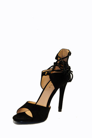 (alt) Ankle laced-up straps suede black heels