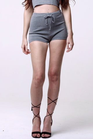 (als) Knit drawstring gray shorts