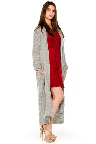(akw) Knit maxi cardigan -Gray-