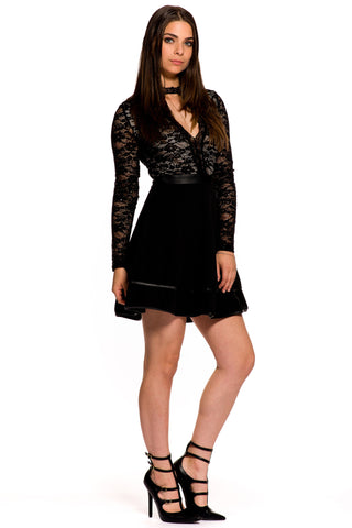 (aky) Long sleeves flare fit and flare lace short dress