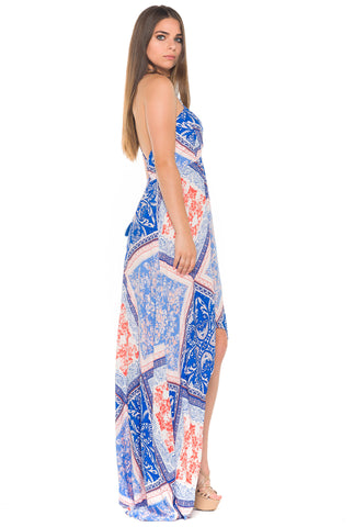 (alb) Laced-up on back HI-Lo printed maxi dress