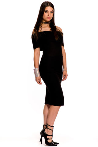 (aky) Fold over off-the-shoulder knee length black dress