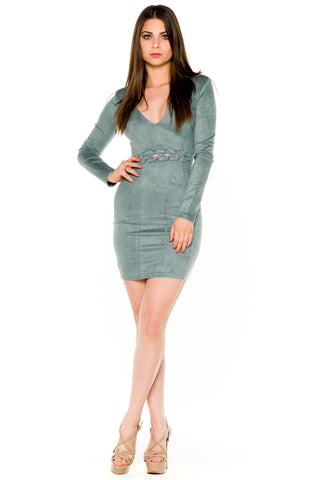 (akw) Laced up on waist long sleeves short dress -Blue-