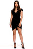 (aky) Cap sleeves plunging open back black short dress