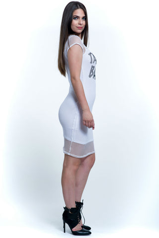 (ala) Take me back cap sleeves net dress -White-