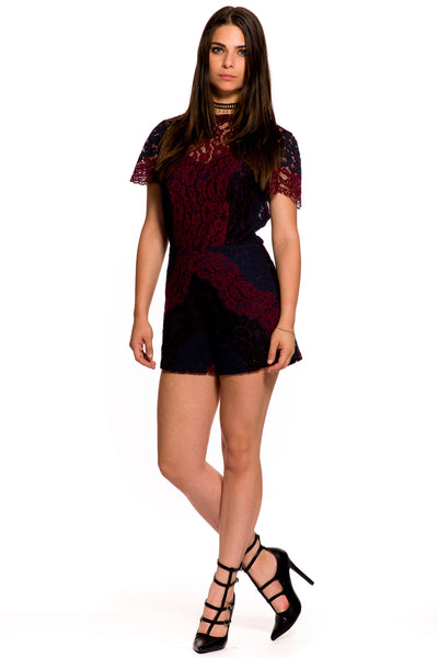 (aky) Lace color block short sleeves romper - L.A. Roxx - 3