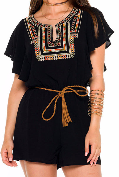(alb) Embroidered belted romper -Black- - L.A. Roxx - 5