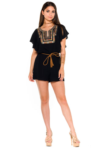 (alb) Embroidered belted romper -Black-