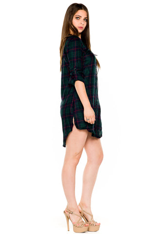 (akw) Laced up checked boyfriend button shirt