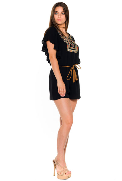 (alb) Embroidered belted romper -Black- - L.A. Roxx - 3