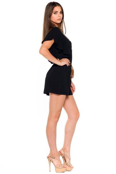 (alb) Embroidered belted romper -Black- - L.A. Roxx - 2