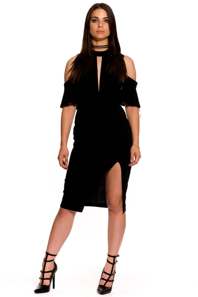(aky) Off the shoulder cut out bodysuit -Black- - L.A. Roxx - 1