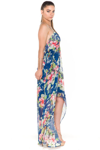 (ala) Laced-up on back Hi-Lo floral print maxi dress