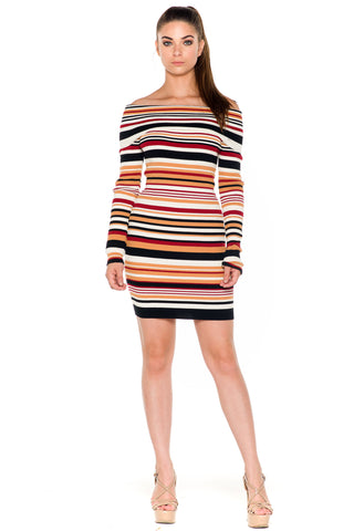 (ala) Off the shoulder striped sweater dress