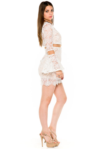 (akw) Long bell ruffle sleeves crochet short dress -White-