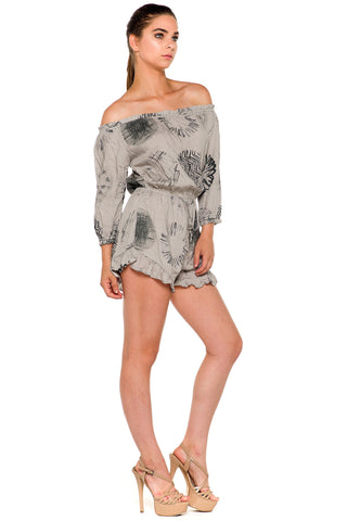 (alc) Off-the-shoulder 3/4 sleeves romper