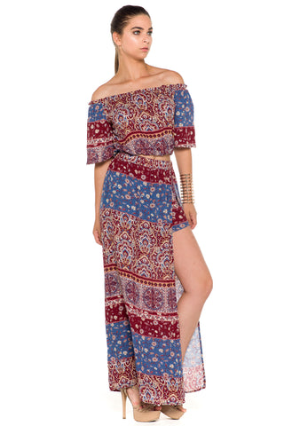 (alc) Printed maxi skirt set -Red-