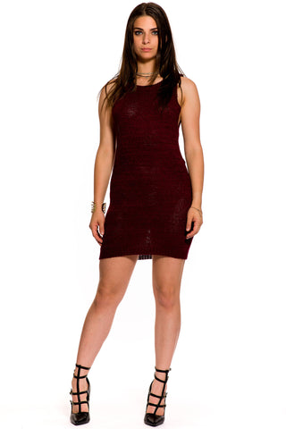 (aky) Key-hole on back knit short tank dress -Burgundy-