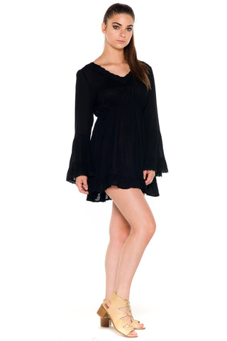 (ala) Bell sleeves flare short dress -Black-