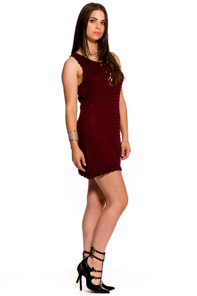 (aky) laced-up sleeveless short dress -Burgundy- - L.A. Roxx - 2