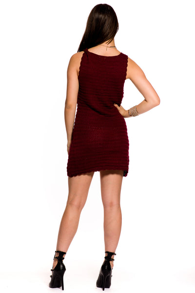 (aky) laced-up sleeveless short dress -Burgundy- - L.A. Roxx - 4