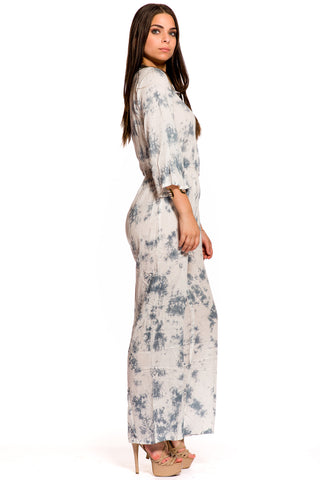 (aky) Laced up tie die bell sleeves jumpsuit