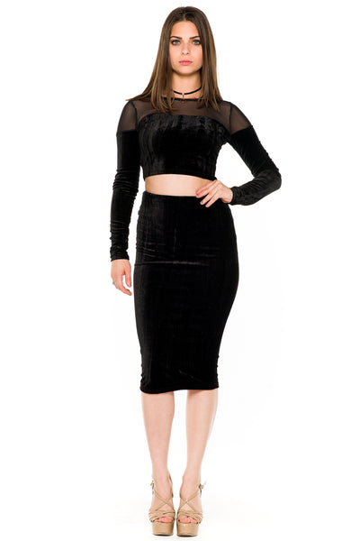 (akw) Velvet and mesh long sleeves skirt set -Black- - L.A. Roxx - 1