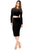 (akw) Velvet and mesh long sleeves skirt set -Black- - L.A. Roxx - 3