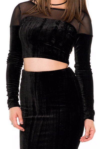 (akw) Velvet and mesh long sleeves skirt set -Black- - L.A. Roxx - 5