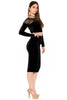 (akw) Velvet and mesh long sleeves skirt set -Black- - L.A. Roxx - 2