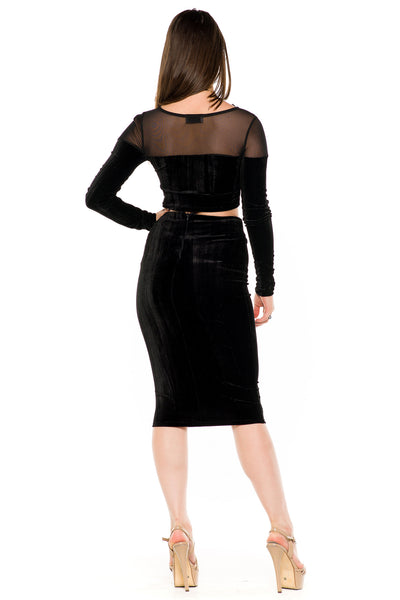 (akw) Velvet and mesh long sleeves skirt set -Black- - L.A. Roxx - 4