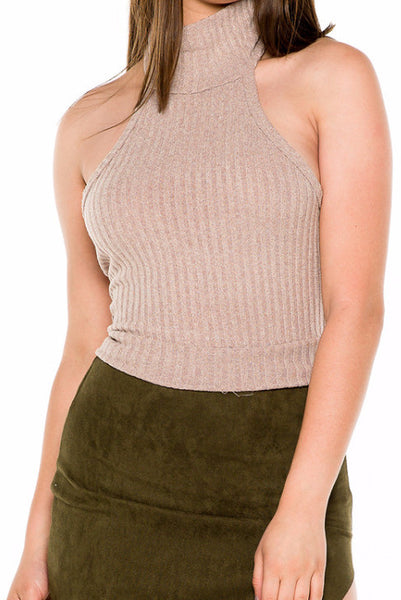 (akw) Turtle neck knit crop sleeveless top -Beige- - L.A. Roxx - 5