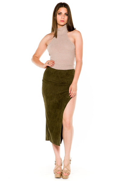 (akw) Turtle neck knit crop sleeveless top -Beige- - L.A. Roxx - 3