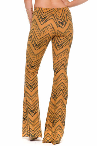 (alc) Tribal pattern flare pants -Rust-