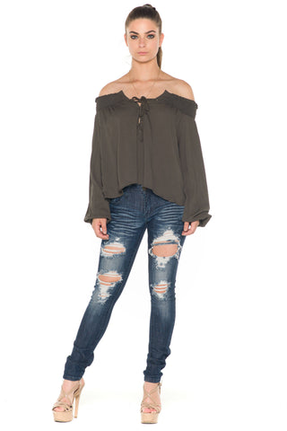 (ala) Laced up off the shoulder top -Olive green-