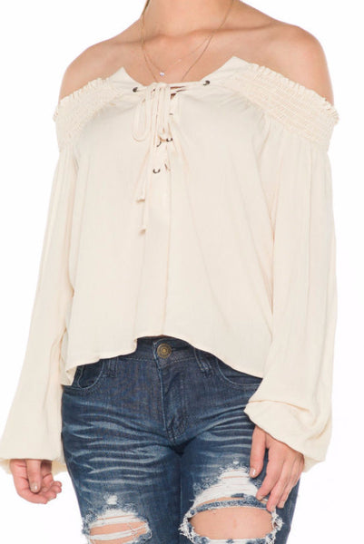 (ala) Laced up off the shoulder top -Beige- - L.A. Roxx - 5