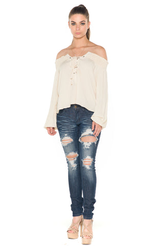 (ala) Laced up off the shoulder top -Beige-