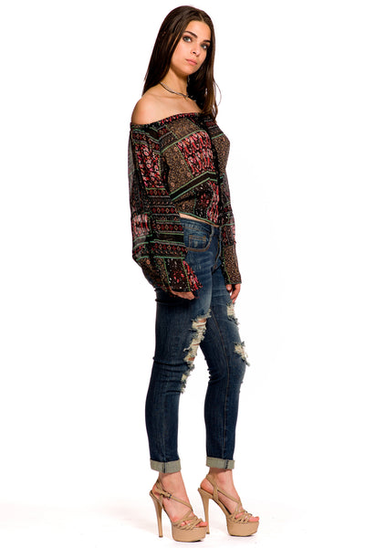 (aky) Sheer printed cut out long sleeves crop blouse - L.A. Roxx - 2