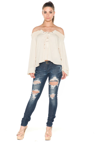 (ala) Laced up off the shoulder top -Beige- - L.A. Roxx - 2