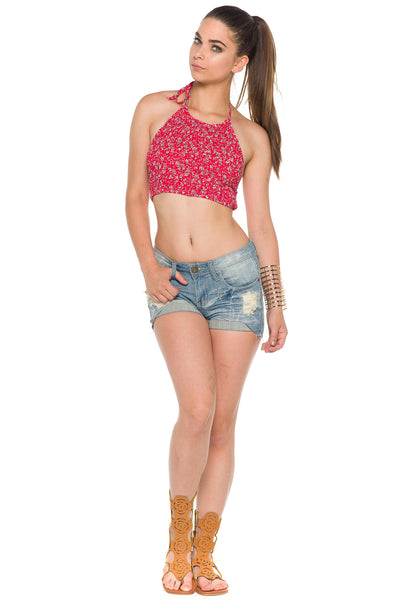(alc) Floral print gathered halter cropped top -Red- - L.A. Roxx - 3