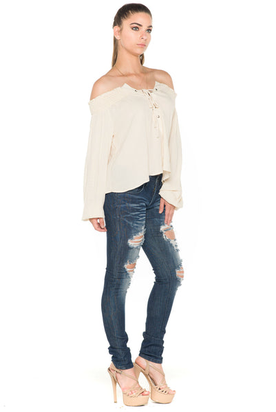(ala) Laced up off the shoulder top -Beige- - L.A. Roxx - 3