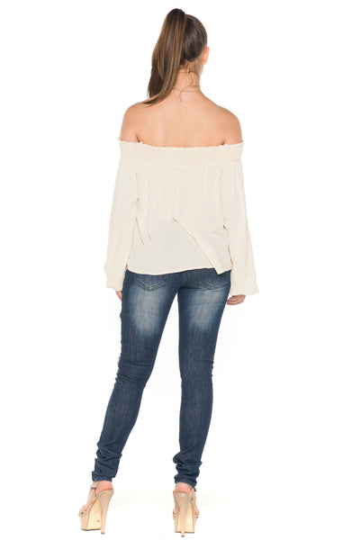 (ala) Laced up off the shoulder top -Beige- - L.A. Roxx - 4