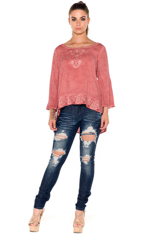 (ala) Embroidered hi-lo long sleeves blouse acid wash -Red-