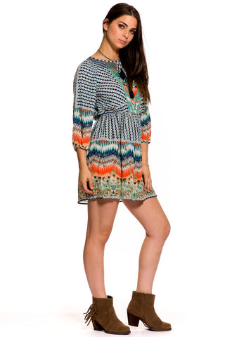 (aky) Ethnic print tunic short dress