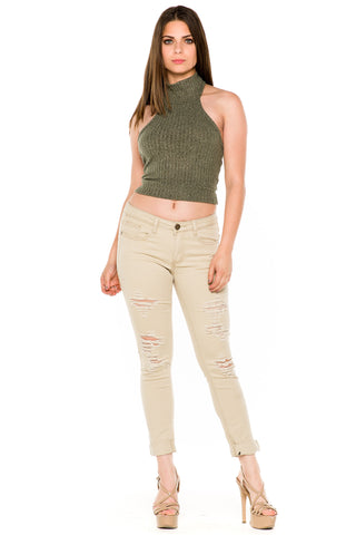 (akw) Turtle neck knit crop sleeveless top -Green-