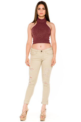 (akw) Turtle neck knit crop sleeveless top -Burgundy-