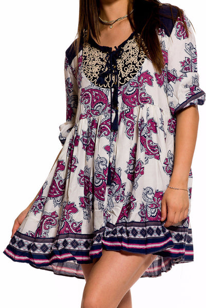 (aky) Paisley 3/4 sleeves short flare boho dress - L.A. Roxx - 5