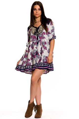 (aky) Paisley 3/4 sleeves short flare boho dress